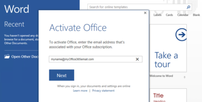 activate ms office 365